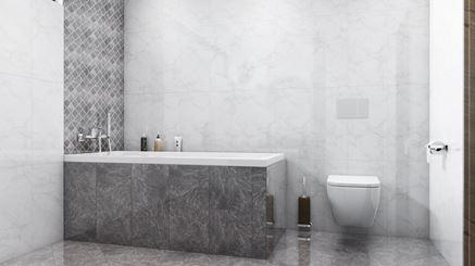Strefa kąpielowa w szarości i bieli z mozaiką
