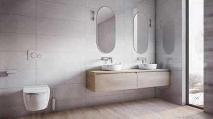 Nowoczesna łazienka z oknem w szarych tonacjach
