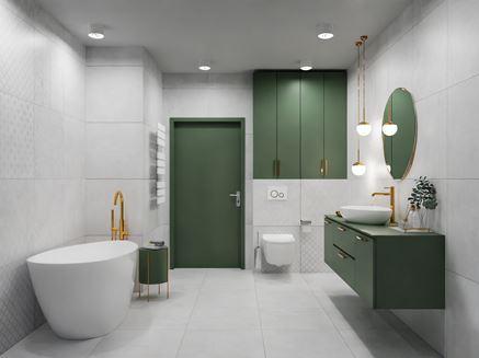 Łazienka w szarościach z zielonymi meblami