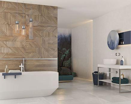 Przestronna łazienka z brązowymi  płytkami strukturalnymi