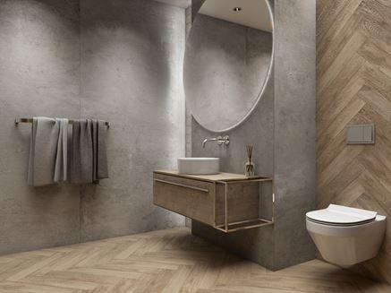 Płyty wielkoformatowe imitujące beton i drewno
