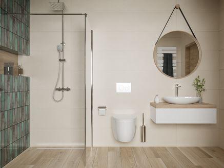 Biel i brąz w nowoczesnej łazience z kaflami Tubądzin Curio