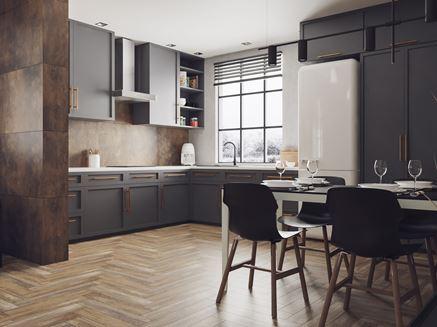 Aranżacja otwartej kuchni w ciemnych kolorach