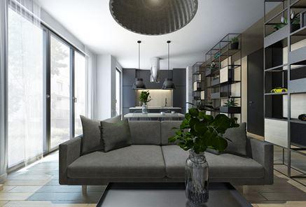 Salon w mieszkaniu - Projekt M