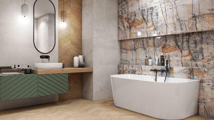 Łazienka w wanną przyścienną i kamiennymi płytkami