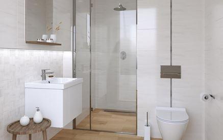Jasna łazienka z drewniana podłogą Cersanit Ondes