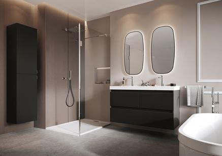 Szaro-beżowa łazienka z czarnymi meblami