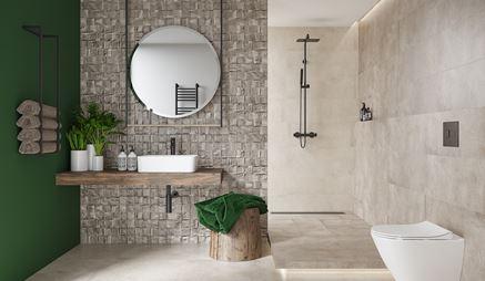 Aranżacja łazienki w kolekcji Nerina Slash marki Opoczno