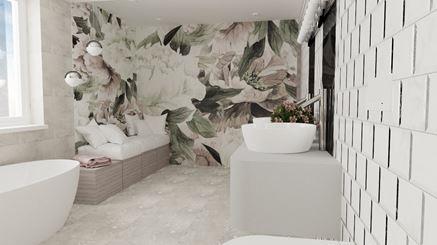 Łazienka z kwiatową fototapetą