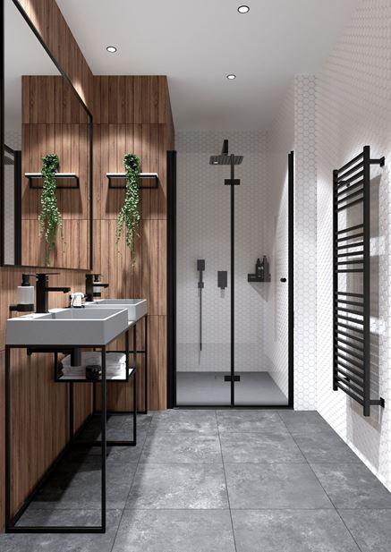 Nowoczesna łazienka w mozaice i drewnie z minimalistycznymi meblami