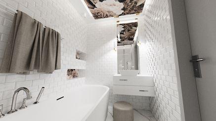 Łazienka z kwiatowym sufitem