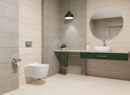 Jasna łazienka w drewnie z betonowymi akcentami