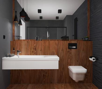 Szaro-drewniana łazienka