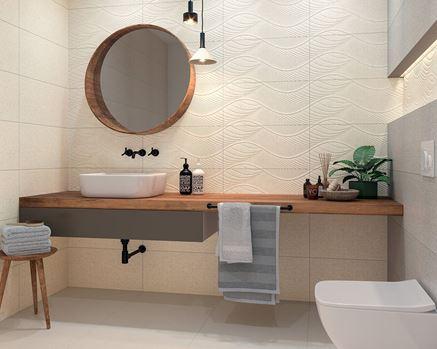 Beżowa łazienka z płytką strukturalną Paradyż Symetry/Symetro