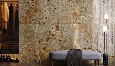 Kamienna ściana w beżach w sypialni
