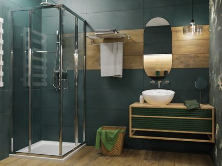 Łazienka w zieleni i drewnie