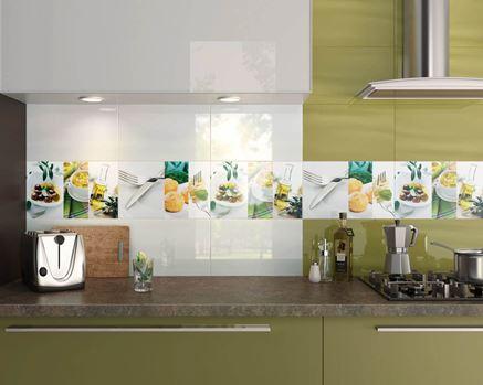 Ściana w kuchni z insertami Paradyż