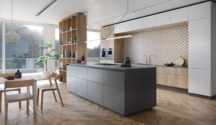 Biała kuchnia w drewnie z jodełkową mozaiką