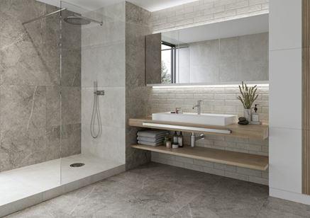 Biało-szara łazienka w minimalistycznym stylu