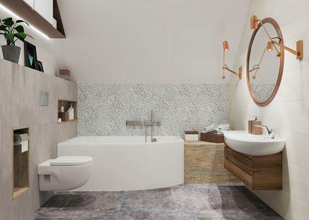 Łazienka w stonowanych kolorach z dekoracyjną ścianą