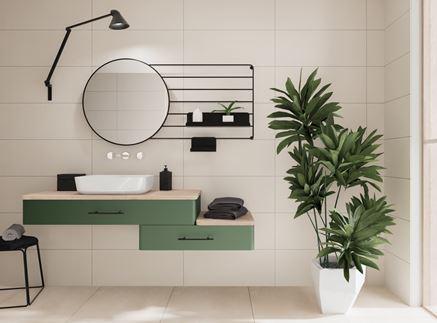 Biało-beżowa łazienka z dodatkiem zieleni