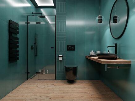 Nowoczesna łazienka w zieleni z podłogą w drewnie