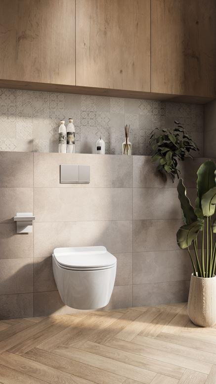 Strefa toaletowa w szarościach z dekorami