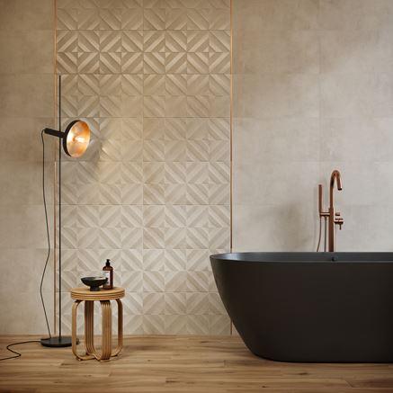 Drewno i beżowa struktura w nowoczesnej łazience