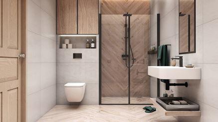 Jasna łazienka w drewnie Azario Modun
