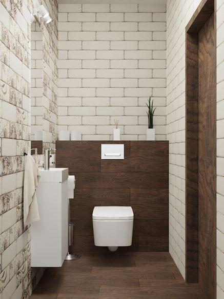 Mała toaleta z płytką Paradyż Rondoni