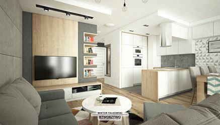 Biało-szara strefa dzienna w mieszkaniu