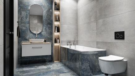 Aranżacja szarej łazienki z płytami Azario Duomo
