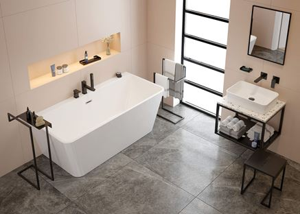 Nowoczesna łazienka z kolekcjami Mokko i Anemon Bis