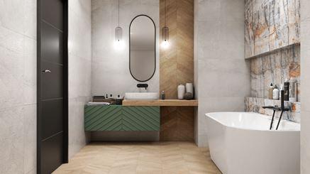 Szara łazienka z jodełką i dekoracyjną ścianą