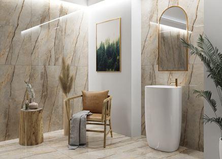 Stylowa łazienka w beżowym marmurze Azario Paris Gold