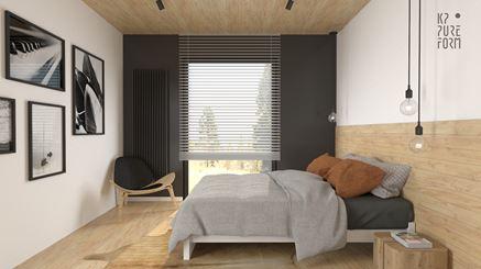 Sypialnia z ciepłym drewnem i dodatkiem czerni