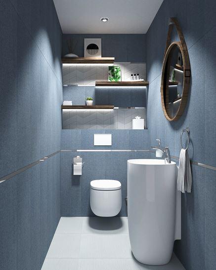 Granatowa łazienka z kolekcją Tubądzin House of Tones
