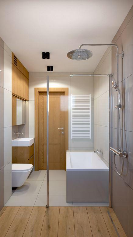 Prysznic i wanna w małej łazience