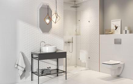 Aranżacja białej łazienki w geometrycznej strukturze