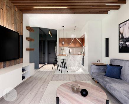 Salon z aneksem z modnym drewnem