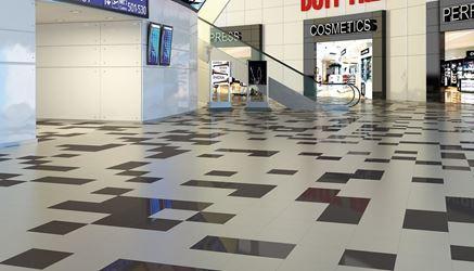 Centrum handlowe z dwukolorowa podłogą