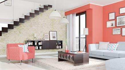 Nowoczesny salon z kamienną ścianą