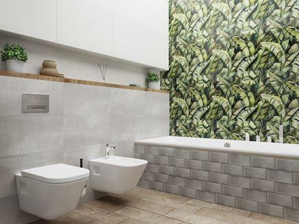 Jasna łazienka z roślinnymi dekorami