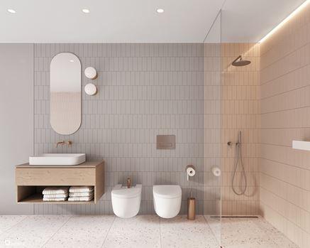 Pastelowa łazienka z podłogą lastryko