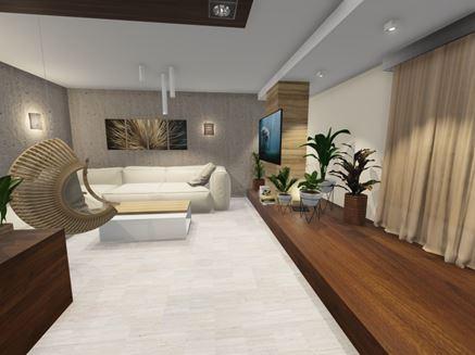 Nowoczesny salon z wiszącym fotelem
