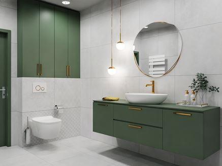 Jasnoszara łazienka z zielonymi dodatkami