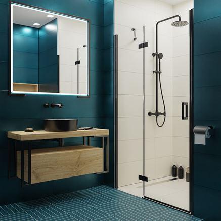 Nowoczesna łazienka w biało-niebieskiej tonacji