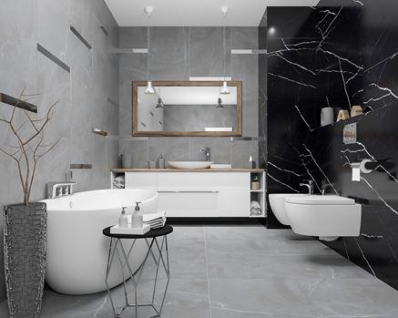 Aranżacja łazienki z marmurową ścianą