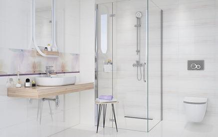 Biała łazienka z pastelowym akcentem
