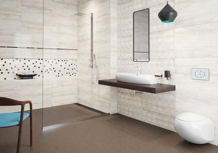 Łazienka z dodatkiem brązu - Opoczno Simple Stone